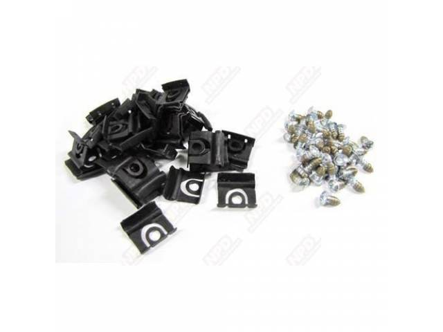 MOUNTING KIT WINDSHIELD MOLDING CLIPS AND SCREWS FOR