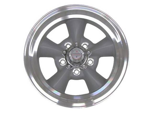 WHEEL, TORQ-THRUST D, NATURAL ALLOY RIM, DARK GRAY