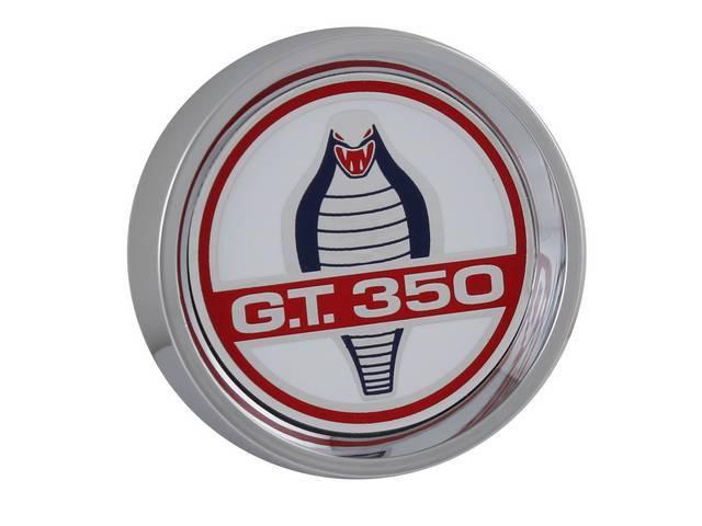 CENTER CAP, Die Cast, GT-350 snake logo, chrome