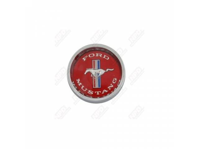 CENTER CAP, STYLED STEEL WHEEL, ORIGINAL, RED EMBLEM