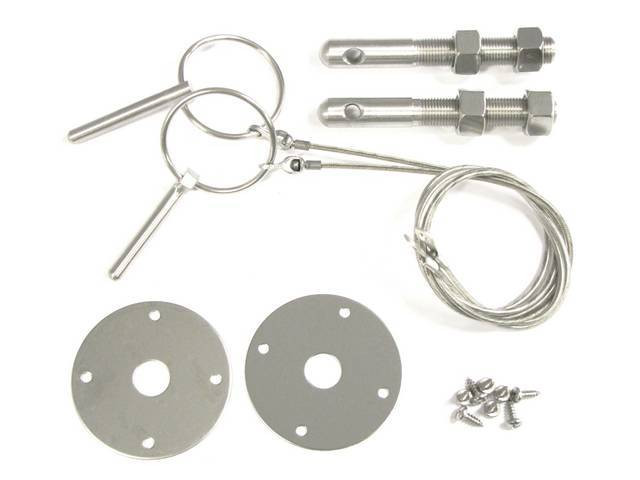 HOOD PIN KIT, STAINLESS STEEL, DELUXE, CLASSIC LOOK