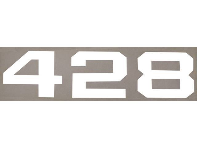 EMBLEMS, HOOD, 428 DECAL, WHITE