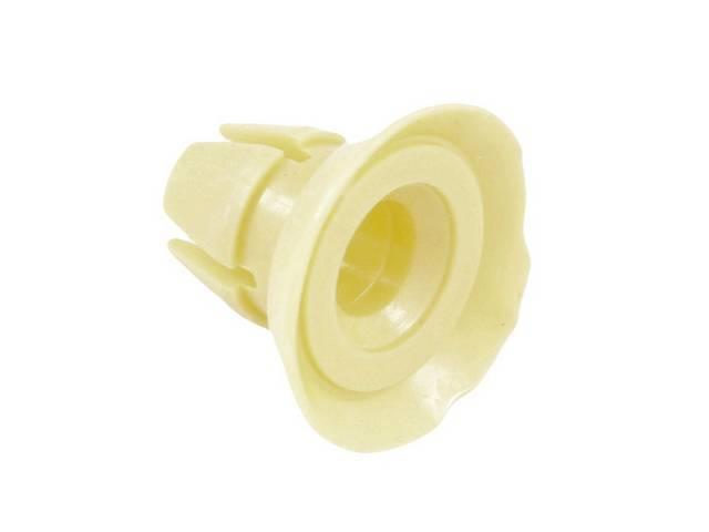 BUSHING, Lock Rod Clip Retainer, yellow plastic, NOS