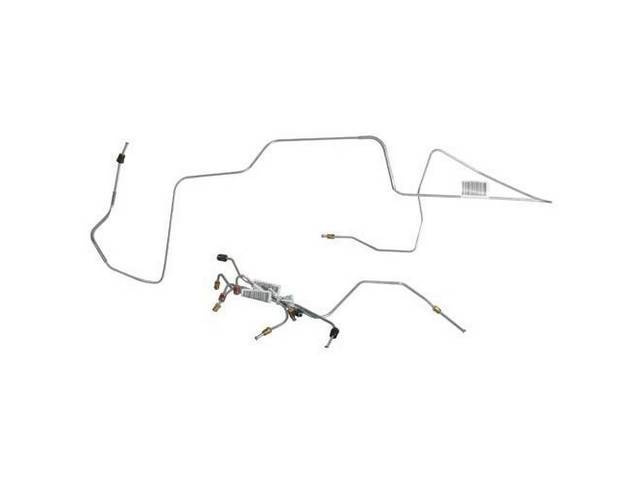 BRAKE LINE SET, Front Disc, carbon steel, (6),
