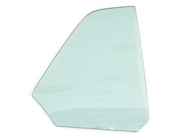 GLASS, QUARTER WINDOW, TEMPERED, RH, GREEN TINT, REPRO,