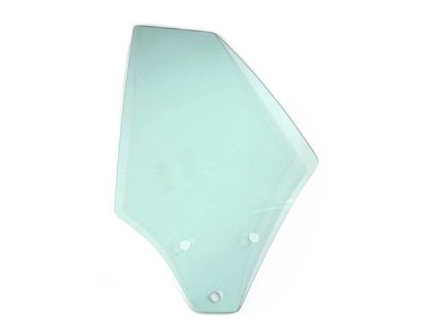 GLASS, QUARTER WINDOW, TEMPERED, LH, GREEN TINT, REPRO,