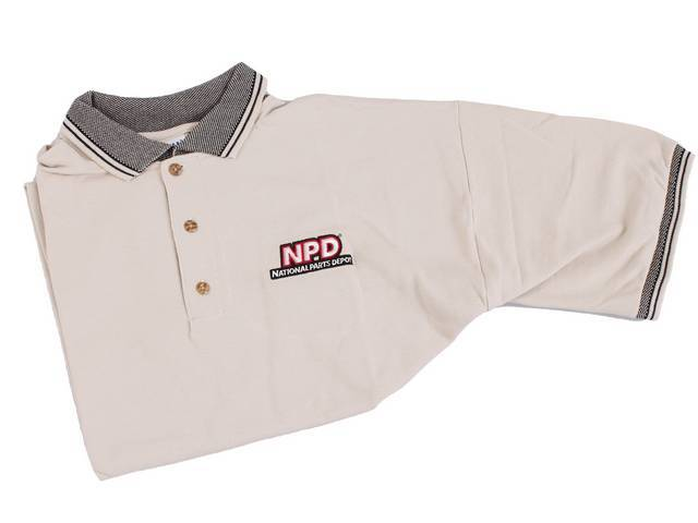 POLO SHIRT, NPD, sand / black, medium, features stitched *NPD* / *NATIONAL PARTS DEPOT* logo in white w/ red outline