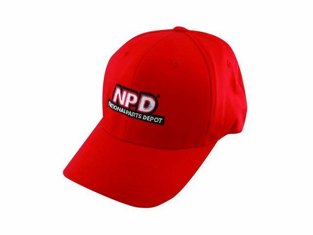 NPD Embroidered Flexfit Adult  Cotton Twill Cap in Red, Small / Medium