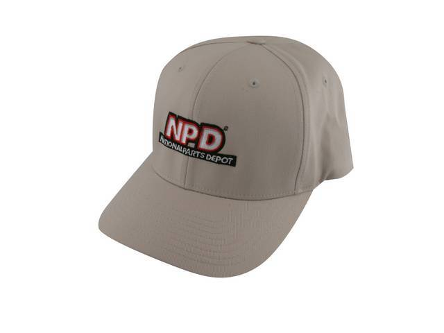NPD Embroidered Flexfit Adult  Cotton Twill Cap in Tan, Large / Extra Large
