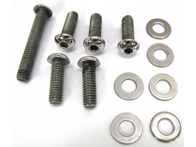 BOLT KIT, TIMING COVER, POLISHED STAINLESS STEEL BUTTON