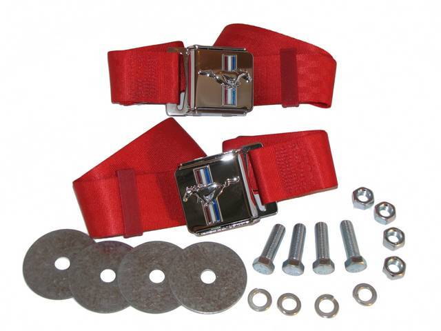 SEAT BELT SET, CLASSIC LOOK, BRIGHT RED, WITH MUSTANG