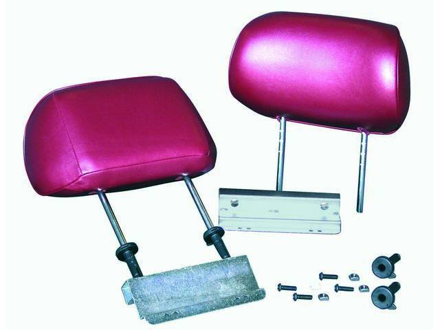 HEADREST CONVERSION, TMI, red, pair, fits OE style