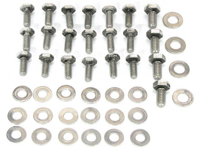 BOLT KIT, OIL PAN, Polished stainless steel hex