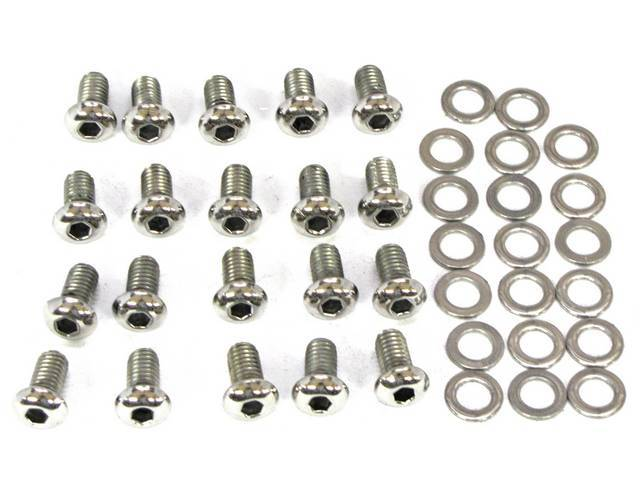 BOLT KIT, OIL PAN, Polished stainless steel button
