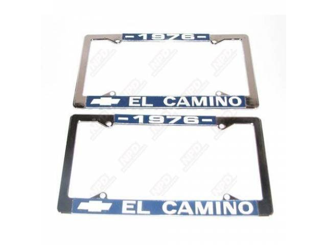 FRAME, License Plate, chrome frame w/ *1976* at the top and a Chevrolet Bowtie logo and *El Camino* at the bottom in white lettering on a blue background