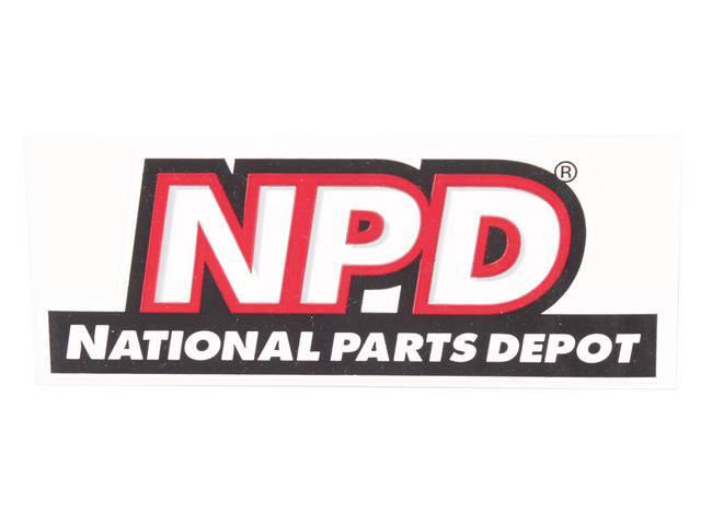 DECAL, NPD Logo, features *NPD* and *NATIONAL PARTS DEPOT* in white on a black surround, color, die-cut, 2 inch height x 5 1/4 width
