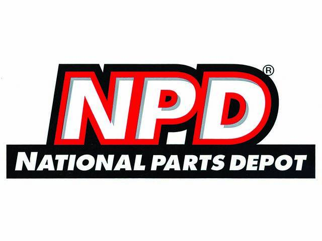 DECAL, NPD Logo, features *NPD* and *NATIONAL PARTS DEPOT* in white on a black surround, color, die-cut, 4 1/8 inch height x 10 7/8 width