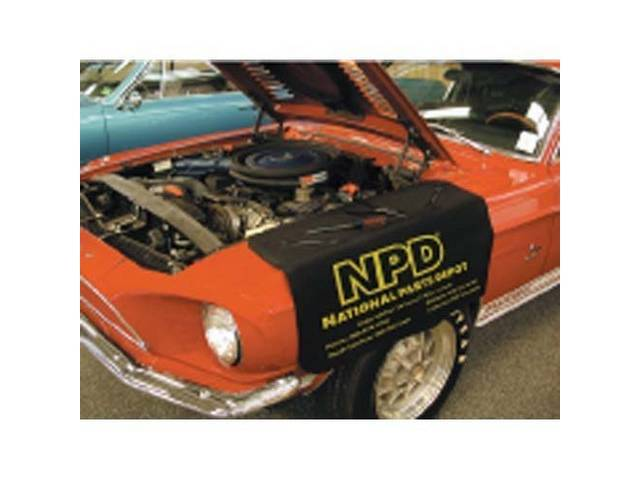 """FENDER COVER, """"HOLD ALL"""", black w/ yellow lettering, incl *NPD*, *NATIONAL PARTS DEPOT* and our four locations"""