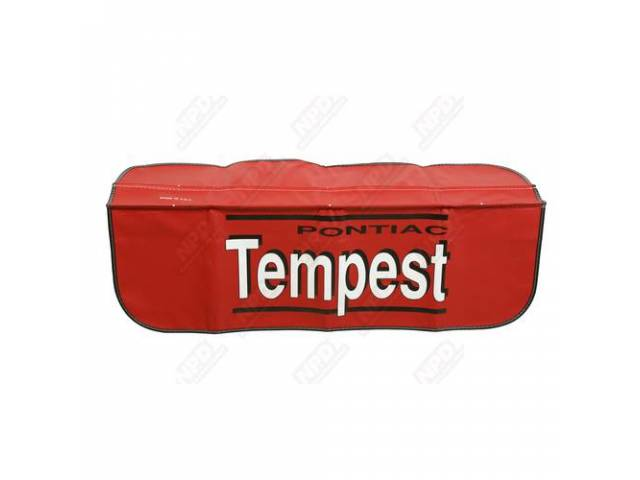 FENDER COVER, red w/ *PONTIAC* in black writing and *Tempest* in white lettering w/ a black shadow in the center