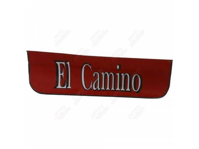 FENDER COVER, red w/ *El Camino* in white lettering w/ a black shadow in the center