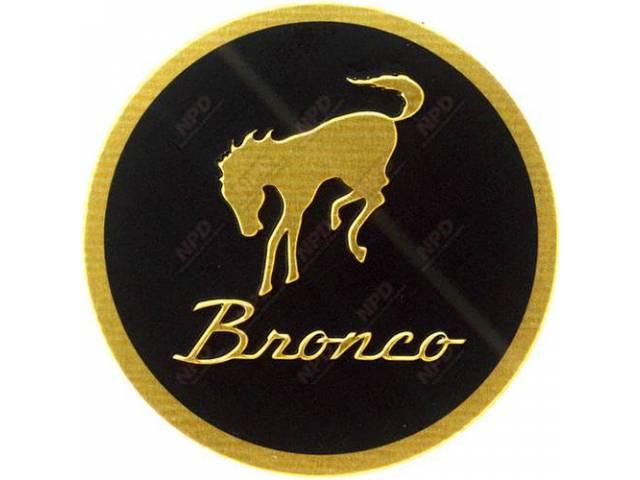 EMBLEM, Key Fob, Bronco script with horse, Aluminum