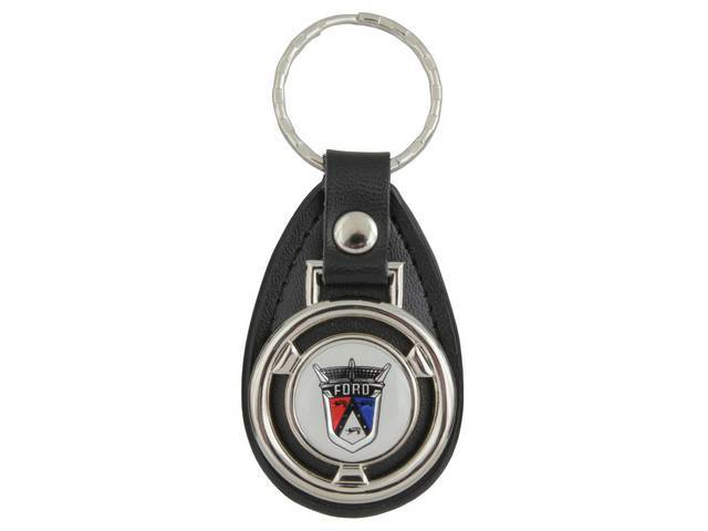 KEY FOB, Leather, Ford crest emblem