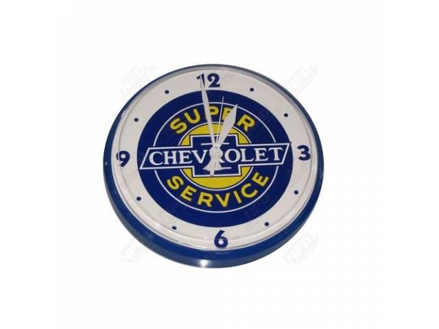 CLOCK, *CHEVROLET SUPER SERVICE*, 12 INCH O.D. MAKES