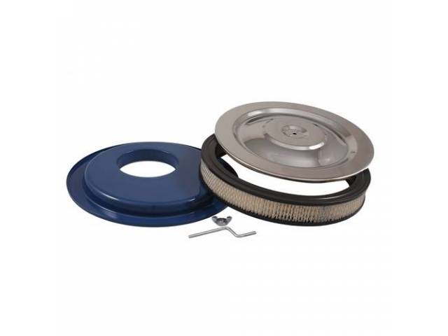 AIR CLEANER ASSY Chrome 14 inch blue base