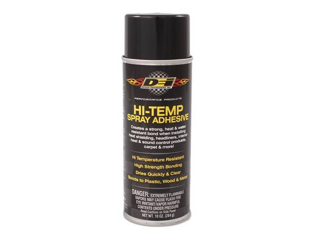 SPRAY ADHESIVE, Hi-Temp, heat resistant up to 160 degrees, High bonding strength, 3-way adjustable spray valve, dries quickly and clear, 10 fluid ounce can