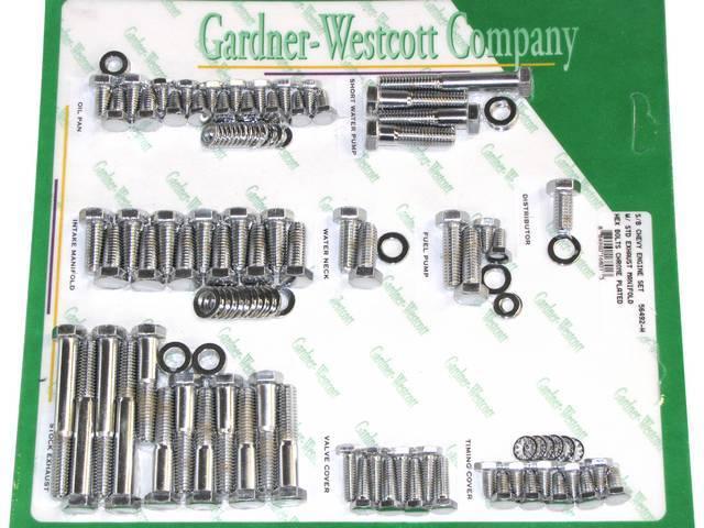CHROME HARDWARE KIT, Engine, SBC w/ exhaust manifolds