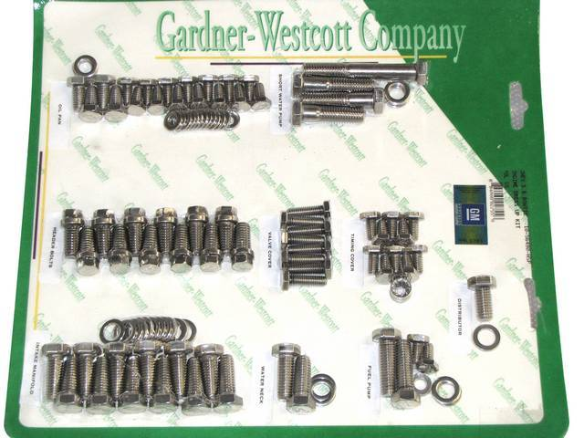 STAINLESS HARDWARE KIT, Engine, SBC w/ headers and
