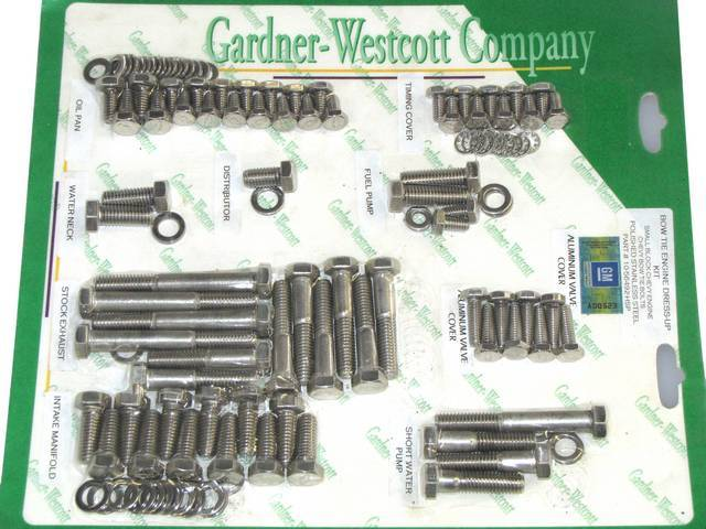 STAINLESS HARDWARE KIT, Engine, SBC w/ exhaust manifolds