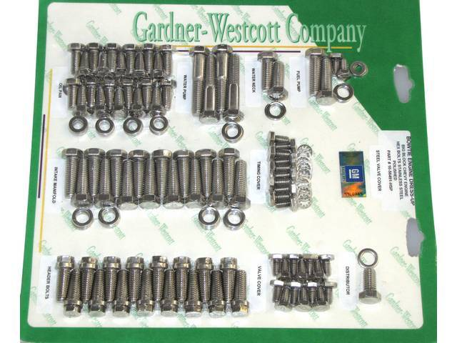 STAINLESS HARDWARE KIT, Engine, BBC w/ headers and