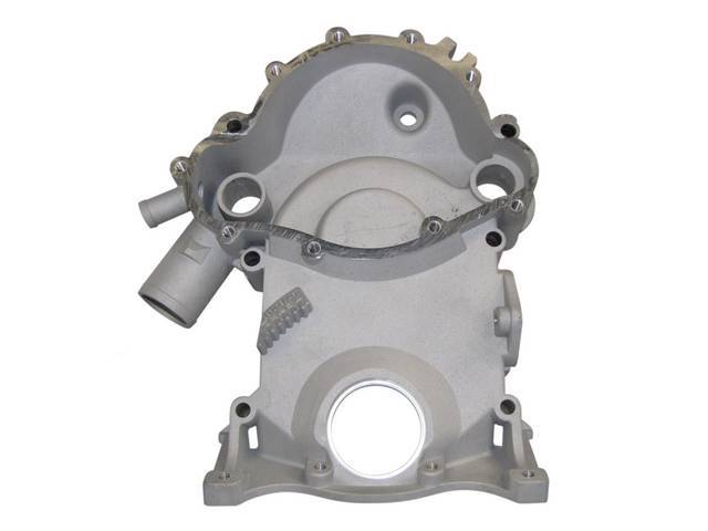 COVER, Crankcase Front End / Timing Chain, Die Cast Aluminum W/ Pointer, 11 Bolt Water Pump Design, Excellent Repro