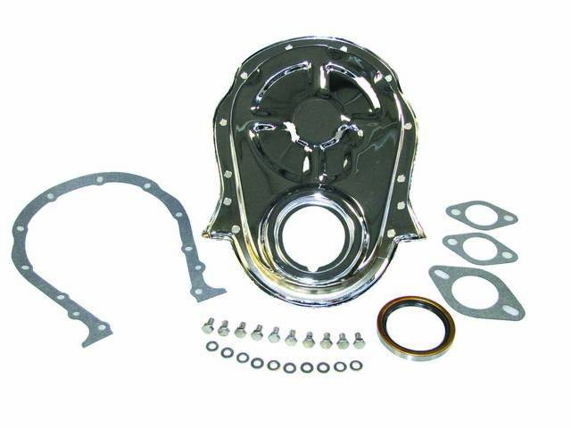 COVER, Crankcase Front End / Timing Chain, CHROME, Incl Cover, Timing Tab, Gasket and Bolts, Repro