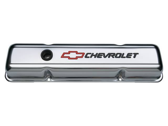 COVER SET, Valve, short profile (2 5/8 inch height) w/ oil baffles, chrome plated heavy-gauge steel w/ black *Chevrolet* lettering and red *Bowtie* logo, GM Licensed repro