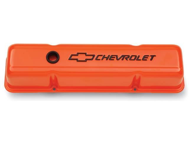 COVER SET, Valve, tall profile (3 5/8 inch height) w/ oil baffles, orange painted heavy-gauge steel w/ black *Chevrolet* lettering and *Bowtie* logo, GM Licensed repro