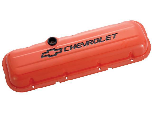 COVER SET, Valve, short profile (2 5/8 inch height) w/ oil baffles, orange painted heavy-gauge steel w/ black *Chevrolet* lettering and *Bowtie* logo, GM Licensed repro