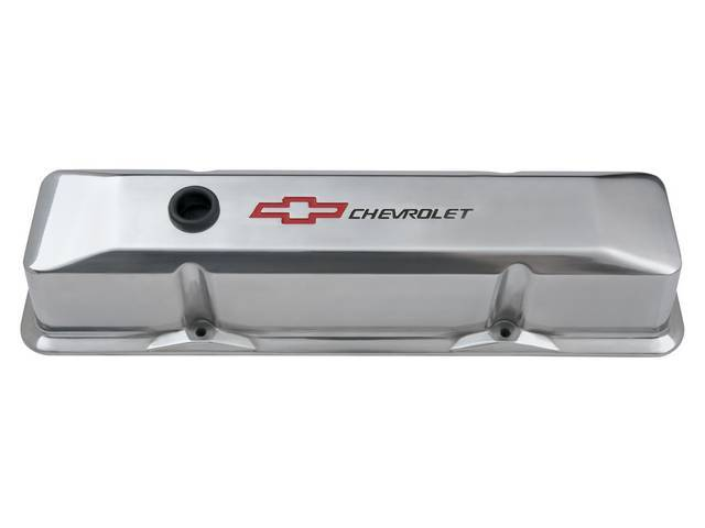 COVER SET, Valve, tall profile (3 5/8 inch height) w/ oil baffles, polished die-cast aluminum w/ recessed black *Chevrolet* lettering and red *Bowtie* logo, GM Licensed repro