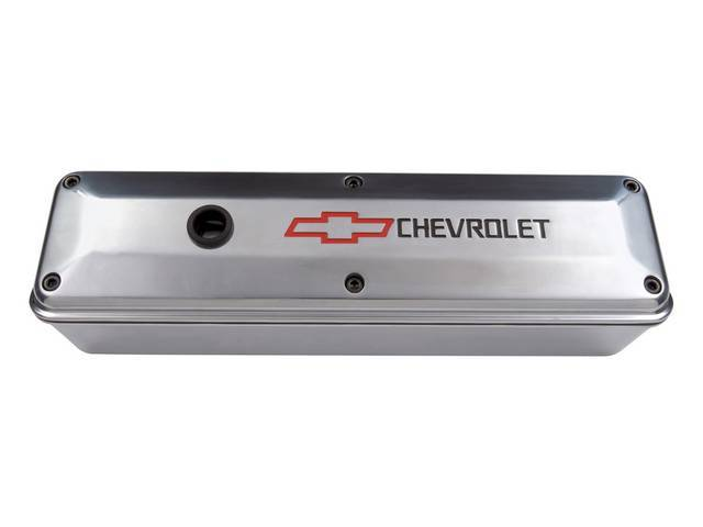 COVER SET, Valve, 2-pc design, tall profile (3 5/8 inch height) w/ removable oil baffles, polished aluminum w/ recessed black *Chevrolet* lettering and red *Bowtie* logo, allows valve train inspection while engine is running, GM Licensed repro