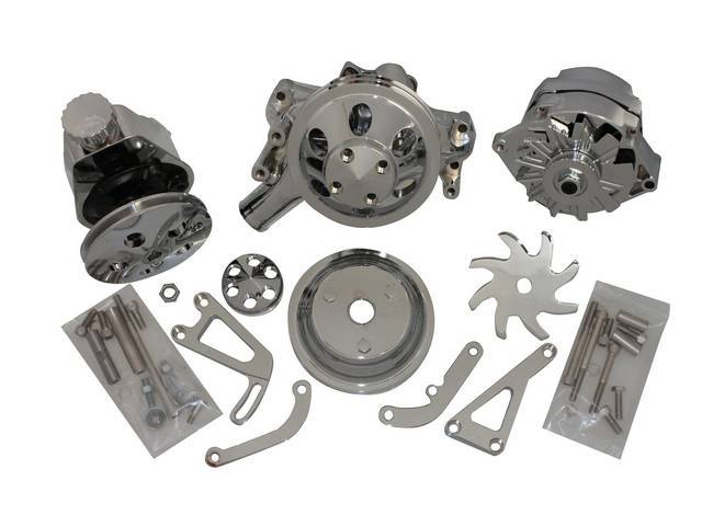 PULLEY, BRACKET, ALTERNATOR AND PUMP SET, Engine, Chromed Aluminum Finish, incl P/S pump, 120 amp 1 wire alternator, long water pump, 6 9/16 inch o.d. double groove crankshaft pulley, 6 9/16 inch o.d. water pump pulley, pulley nose cover, p/s pump pulley
