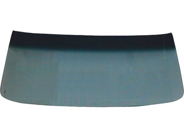 GLASS, Windshield, Green Tinted w/ Blue Sunshade, No