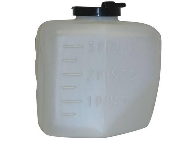 JAR / RESERVOIR KIT, Windshield Washer Fluid, Incl Bottle, Filter, Inner Bottle Hose and Cap (cap has *Windshield Washer Fluid Only* lettering), Repro