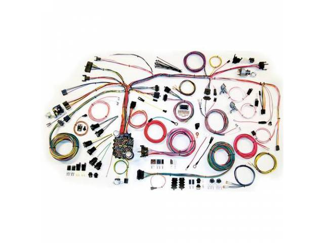 HARNESS, Classic Update, American Autowire, a complete modern wiring system featuring more circuits and plug-in fuses compared to a std factory harness