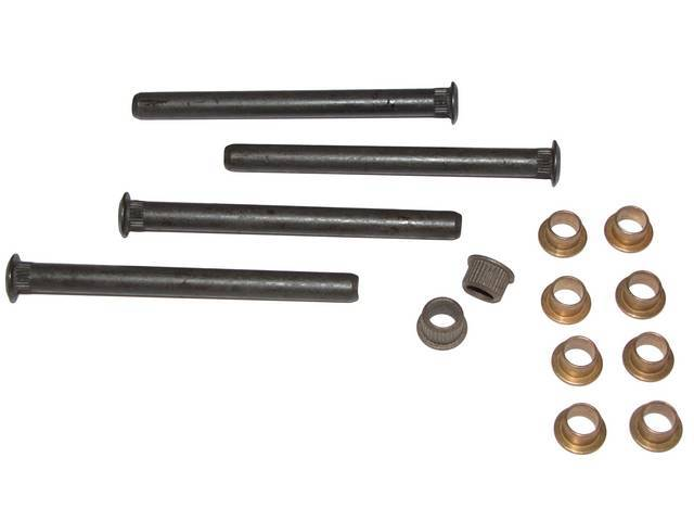 REPAIR KIT, Door Hinge, (14) incl bushings and pins, pins measure 4 inches over all length (may req cut to length), does upper and lower hinges