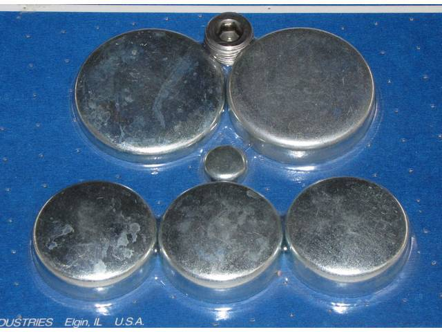 FREEZE PLUG SET, Zinc-Plated Steel, Incl Freeze Plugs, Hex Head Oil Plugs and Cam Plug