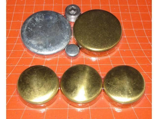 FREEZE PLUG SET, Brass, Incl Freeze Plugs, Hex Head Oil Plugs and Cam Plug