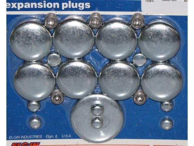 FREEZE PLUG SET, Zinc-Plated Steel, (20) Incl Freeze Plugs, Hex Head Oil Plugs and Cam Plug