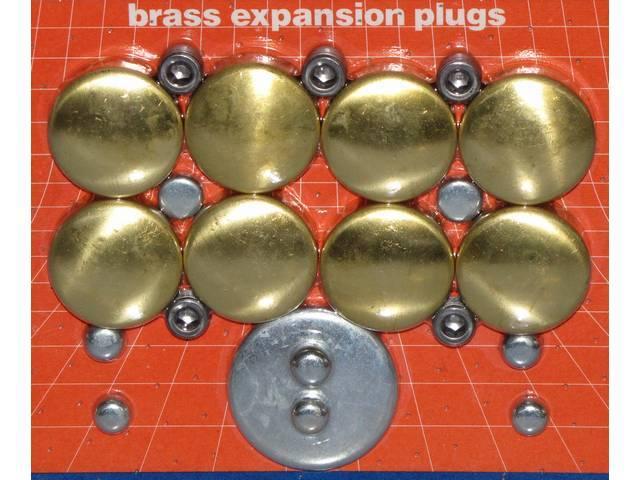 FREEZE PLUG SET, Brass, (20) Incl Freeze Plugs, Hex Head Oil Plugs and Cam Plug