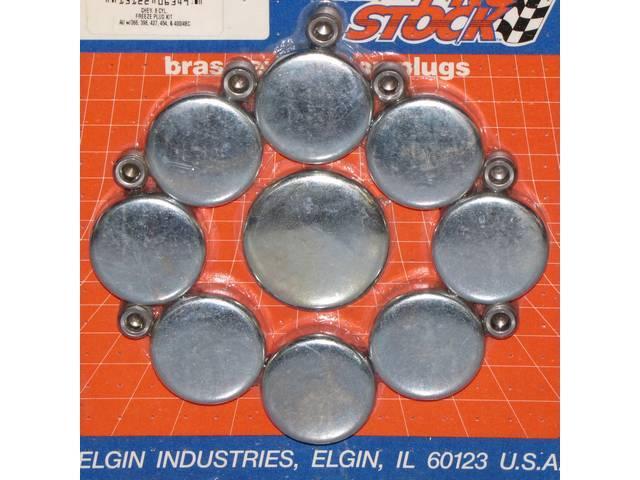 FREEZE PLUG SET, Zinc-Plated Steel, (16) Incl Freeze Plugs, Hex Head Oil Plugs and Cam Plug